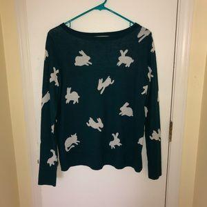 teal bunny sweater